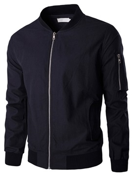 Plain Zipper Stand Collar Men's Vogue Pocket Jacket