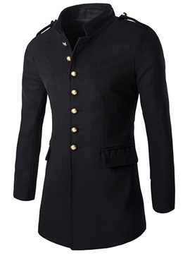 Stand Collar Vogue Button Men's Trench Coat