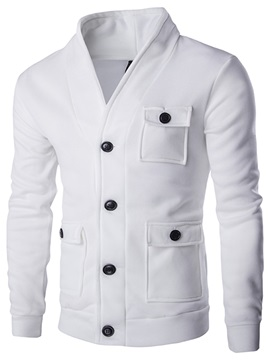 Solid Color V-Neck Men's Single-Breasted Jacket