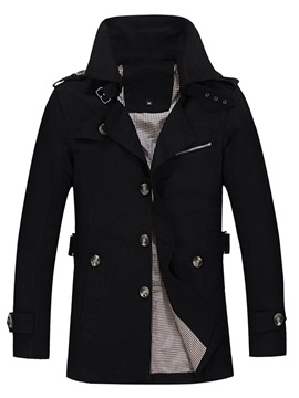 Solid Color Single-Breasted Men's Casual Coat