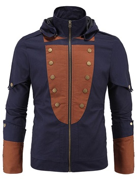 Patchwork Zipper Buttons Men's Hooded Jacket