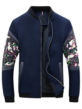 Floral Patch Zipper Men's Stand Collar Casual Jacket