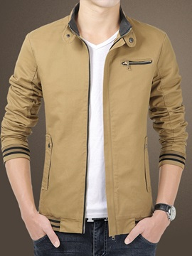 Stand Collar Zipper Men's Color Block Jacket