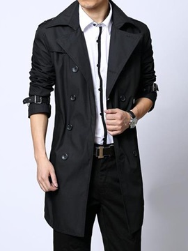 Lapel Double-Breasted Men's Casual Trench Coat