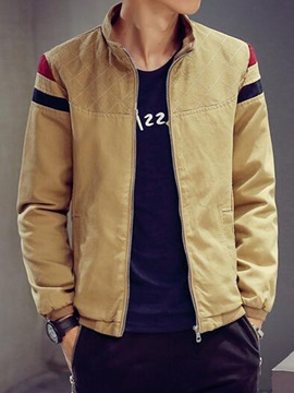 Stand Collar Color Block Men's Zipper Jacket