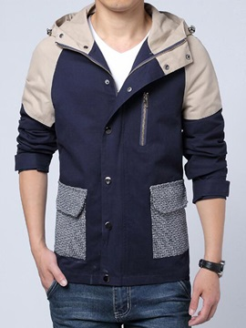 Patchwork Hooded Single-Breasted Men's Causal Jacket