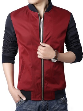 Zipper Stand Collar Men's Color Block Jacket