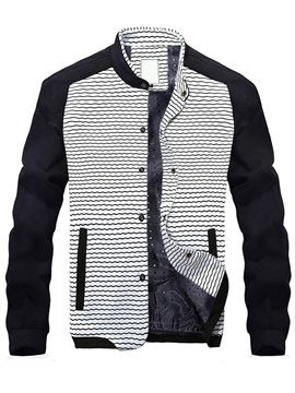 Stand Collar Color Block Men's Casual Single-Breasted Jacket