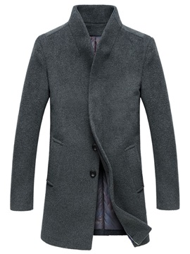 Plain Stand Collar Double-Button Men's Trench Coat