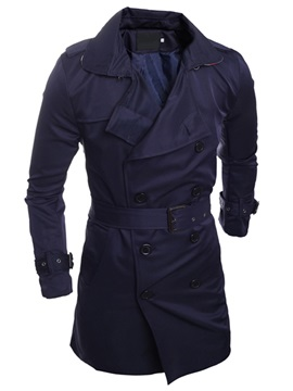 Long Pattern Notched Collar Men's Casual Coat