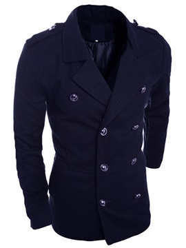 Solid Color Cotton Blends Men's Lapel Coat