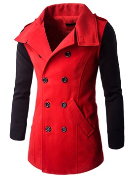 Double Breasted Patchwork Men's Causal Coat