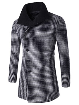 Long Pattern Mini-Plaid Thicken Men's Coat