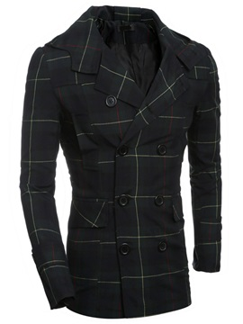 Plaid Single-Breasted Men's Casual Notched Collar Coat