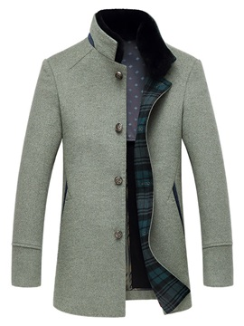 Stand Collar Single-Breasted Men's Woolen Coat