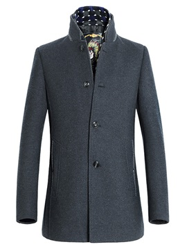 Stand Collar Single-Breasted Men's Casual Coat