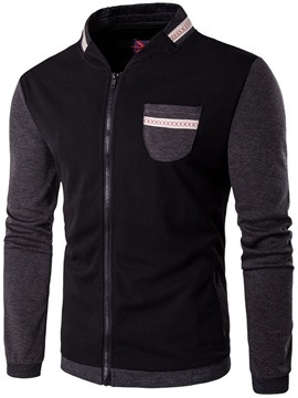 Chest Pocket Color Block Men's Casual Jacket
