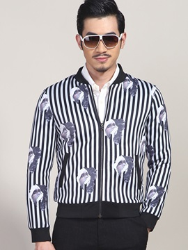 Vogue Print Vertical Stripe Men's Casual Jacket