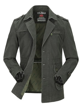 Notched Lapel Single-Breasted Epaulet Men's Jacket
