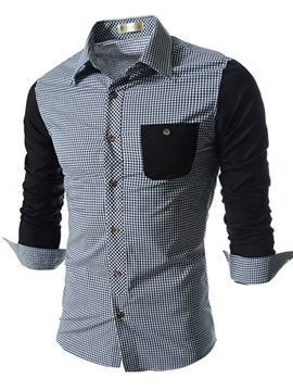 Lapel Plaid Cotton Blends Long Sleeve Shirt
