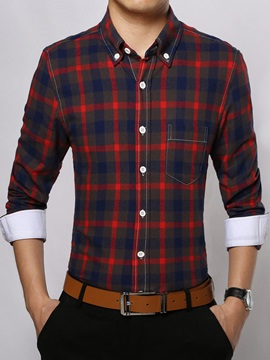 Men's Middle Plaid Single-Breasted Shirts