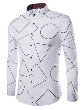Men's Geometric Pattern Single Breasted Long Sleeve Casual Shirts