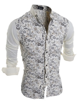 Contrast Floral Printed Lapel Single Breasted Men's Shirt