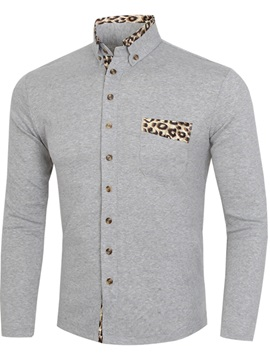 Leopard Print Collar Chest Pocket Men's Knit Shirt