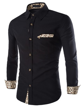 Leopard Patchwork Single Buttons Men's Casual Shirt
