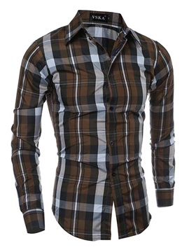 Multi-Color Plaid Lapel Men's Single Buttons Shirt