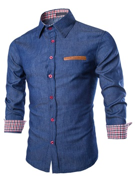 Color Block Chest Faux Pocket Men's Cotton Blend Shirt