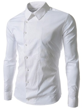 Solid Color Oblique Button Men's Casual Shirt