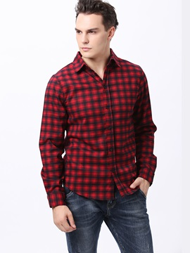 Plaid Slim Fit Single-Breasted Men's Shirt