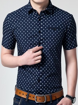 Dots Printed Short Sleeve Men's Regular Fit Shirt