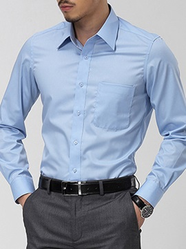 Solid Color Front Pocket Men's Slim Fit Shirt