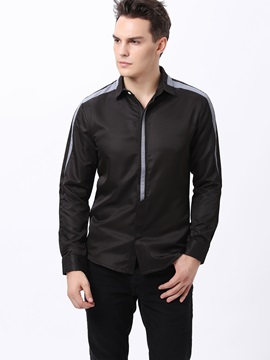 Zipper Casual Men's Color Block Shirt