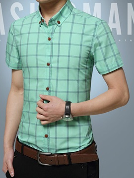 Plaid Cotton Blends Men's Short Sleeve Shirt