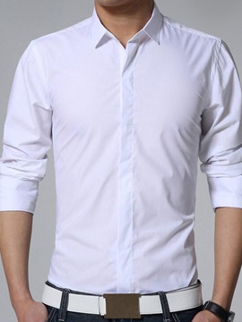 Solid Color Slim Fit Men's Long Sleeve Shirt