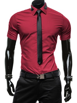 Slim Fit Short Sleeve Men's Shirt with Tie