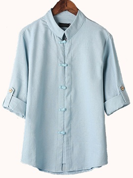 Solid Color Men's Chinese Style Shirt