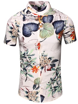 Florals Men's Stand Collar Shirt