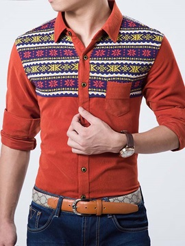 Cotton Blends Chest Pocket Men's Floral Patch Shirt