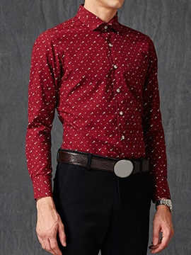 Turndown Collar Casual Men's Floral Shirt