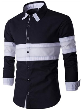 Color Block Single-Breasted Men's Long Sleeve Shirt