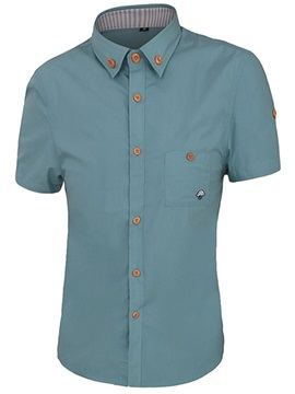 Embroidery Chest Pocket Men's Casual Shirt