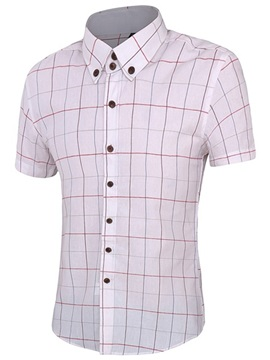 Vogue Plaid Single-Breasted Men's Short Sleeve Shirt