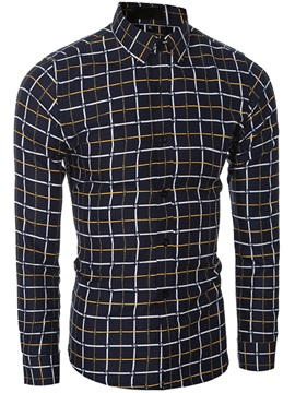 Long Sleeve Vogue Plaid Men's Casual Shirt