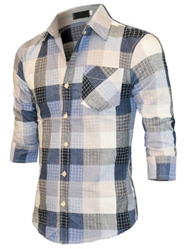 Plaid Three-Quarter Sleeve Men's Chest Pocket Shirt