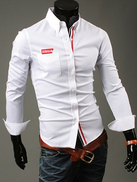 Letter Printed Chest Pocket Men's Casual Shirt