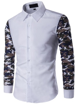 Camouflage Patch Casual Men's Long Sleeve Shirt